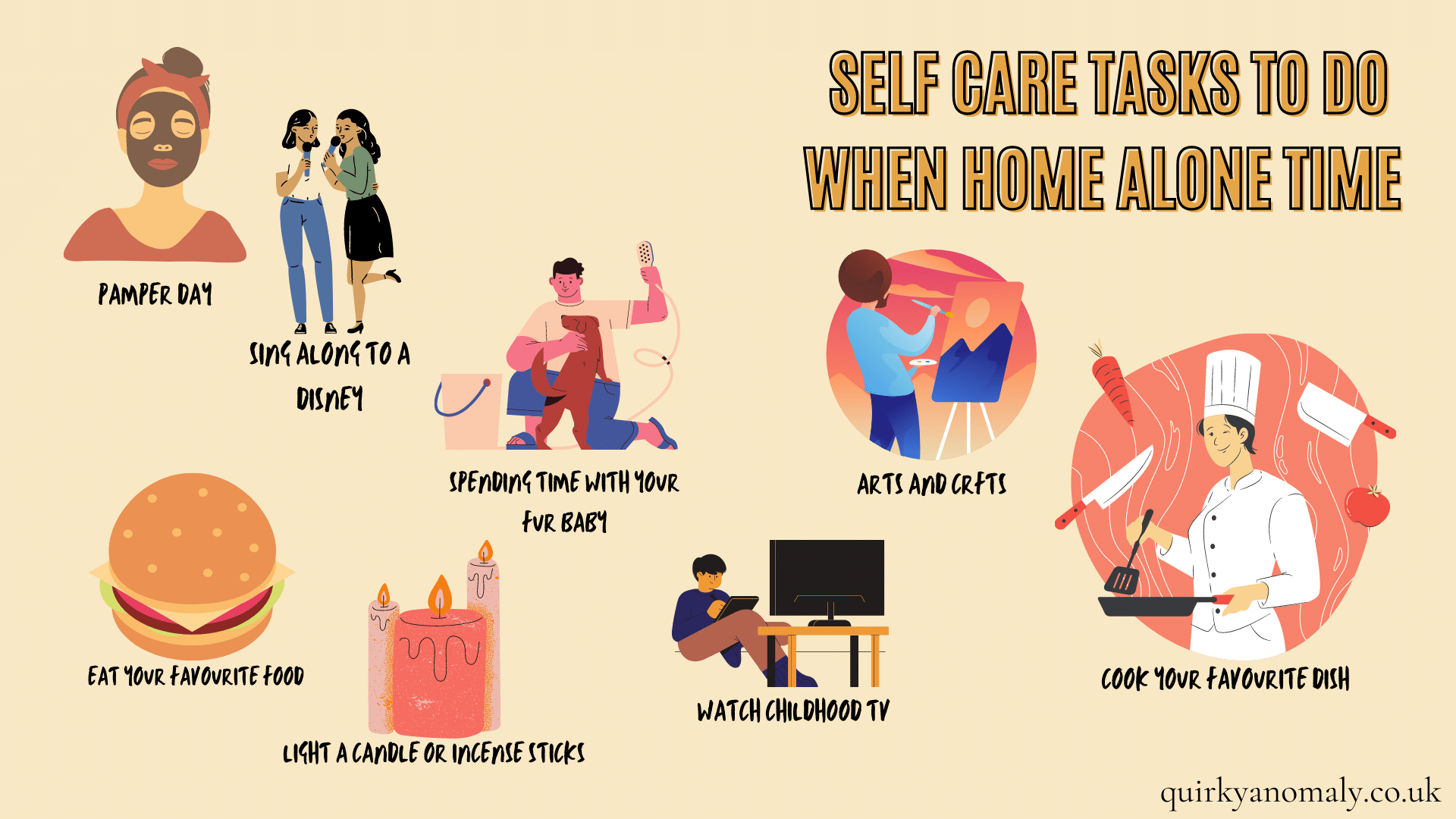 Self care tasks to do when home alone time